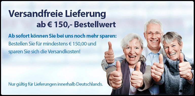 Sliderbanner - Neu: Versandkostenfreie Lieferung ab 150,00 Euro Bestellwert
